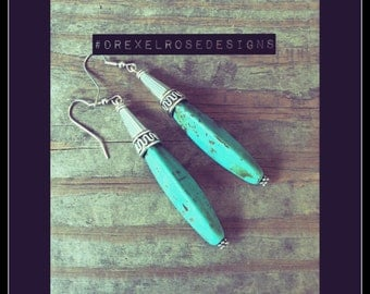 SOLD Turquoise Spears and Silver, Earrings