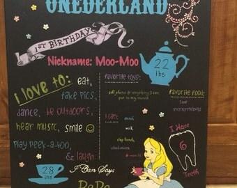 Alice in Wonderland birthday board