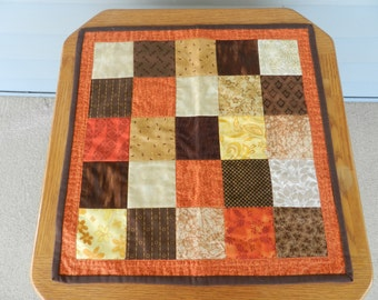 Autumn Table Topper, Fall Table topper, Fall wall hanging, Fall mini quilt, patchwork table topper, Fall candle mat, fall decor  Item #37