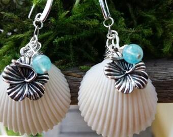Hawaiian/ Hibiscus Flower/ Shell Earrings/tropical