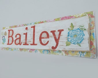 Custom Name Sign with Handpainted Floral Details