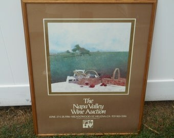 """ORIGINAL Napa Valley Wine Auction POSTER June 27th & 28th 1986 Meadowood, St. Helena California by """"Wagner"""" Vintage Oak Framed Scarce!"""