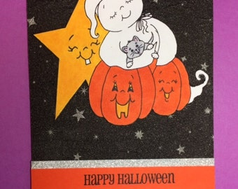 Happy Halloween Ghost, Kitten & Star Greeting Card
