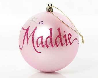 Personalised Light Pink Shatterproof Bauble - Large