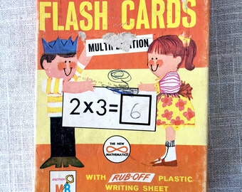 Vintage 1960s Milton Bradley Multiplication Flash Cards Paper Ephemera Complete Set
