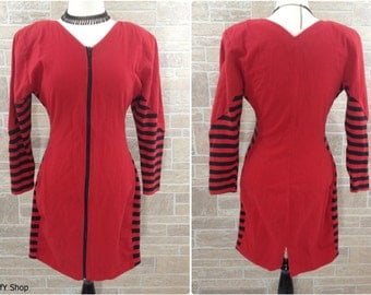 Red and black striped body con fitted dress with front zipper - large