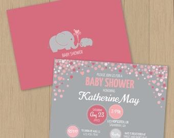 Baby Shower Invitation - Baby Girl - Elephant