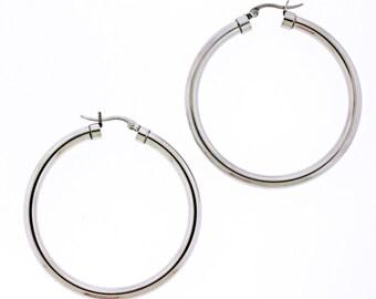 "Large Stainless Steel Hoop Earrings in Silver tone No Stone Snap closure 2 1/4"""