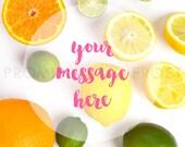 Styled Stock Photography | Instagram Ready Square Citrus Closeup, Oranges, Lemons, & Limes on White Desktop | Product Mockup | Digital Image