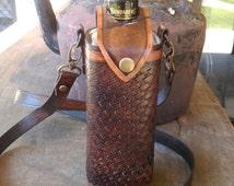 Handmade leather Drink bottle holder