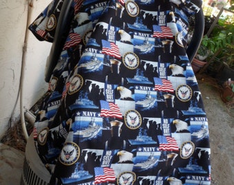 car seat canopy/ boy car seat canopy/ carseat cover/ navy/army canopy.
