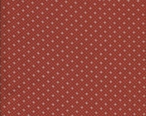 Pretty Rust Colored, 100% Cotton Fabric with Small White Flowers - You Choose The Size, Either Fat Quarter or Half Yard - Quilting, Crafting