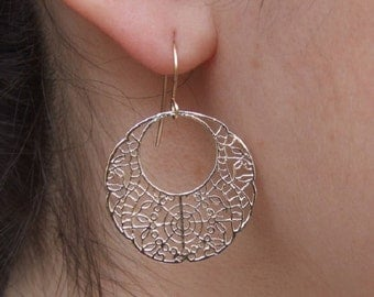 Round Lace Design Dangle Earrings, 14K Yellow Gold Plated Earrings