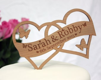Double Heart Wedding Cake Topper Decoration - Personalised