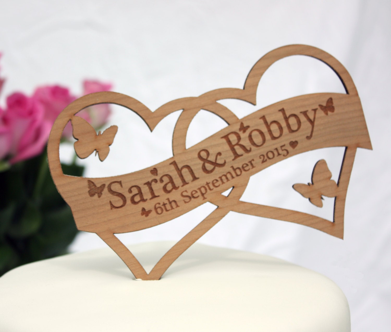 double heart wedding cake topper decoration personalised. Black Bedroom Furniture Sets. Home Design Ideas