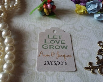 shimmer pearl tag   Let Love Grow - Gift Tags-Wedding Favors-Bridal Shower favors-Set of 25 to 300 pieces Mini tag