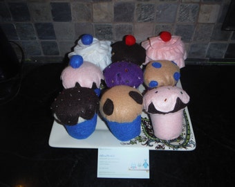 Cupcakes felt kitchen toys  Blueberry or Choclate Chip muffin