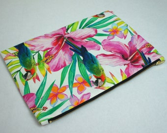 Tropical Parrot Clutch Bag