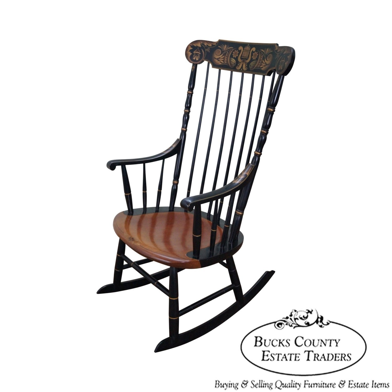 Hitchcock Black Painted Stenciled Rocker By BucksEstateTraders