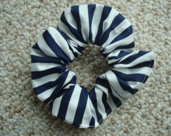 Navy and White Stripe Scrunchie / Ponytail Holder / Fashion Accessory / Hair Tie / Handmade / Made in USA