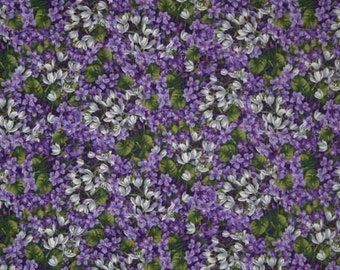 FLORAL Fabric By the Yard, Half, Fat Quarter PURPLE LILAC Floral Fabric Packed Flowers Fabric 100% Cotton Quilting Apparel Fabric w2/31