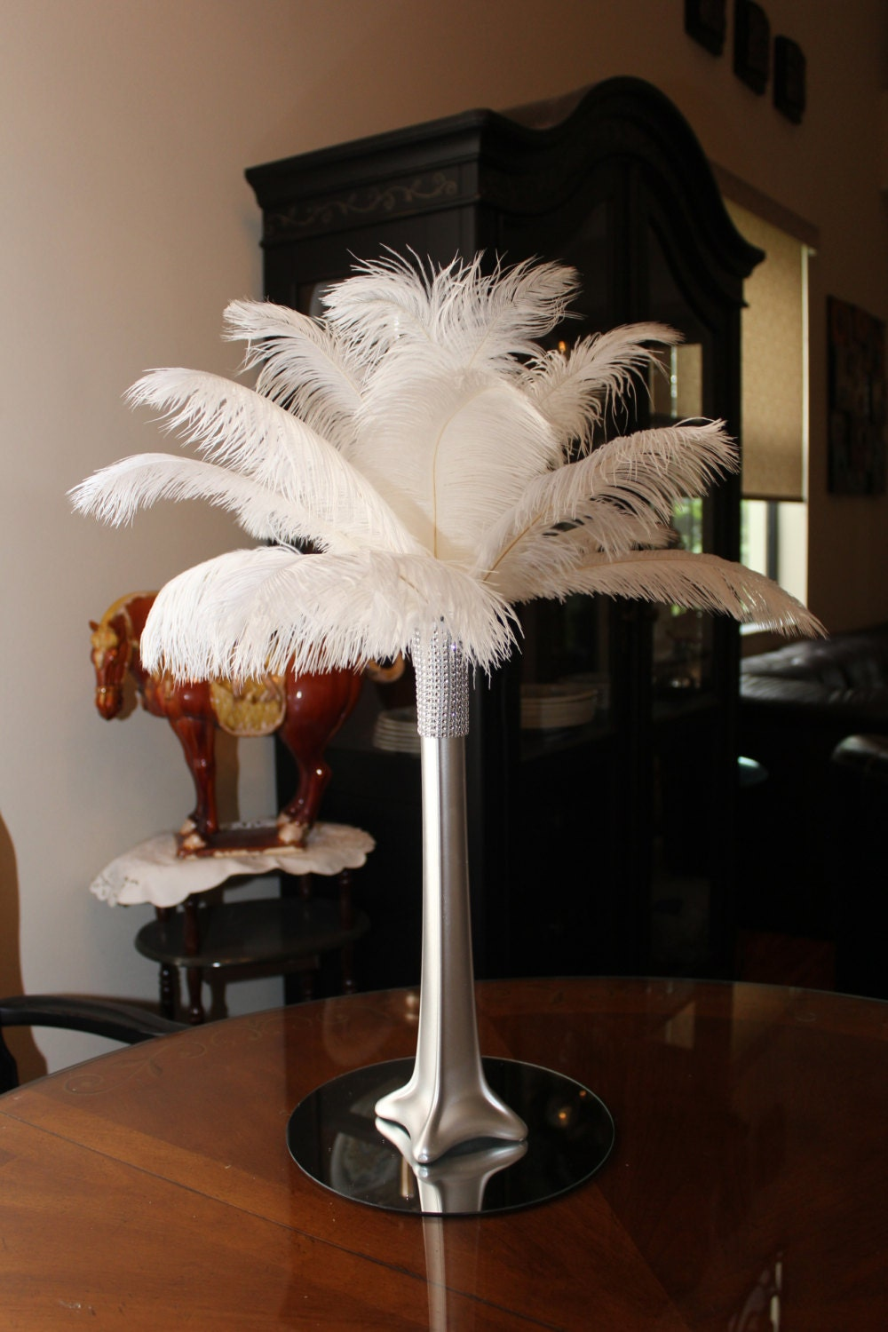 Ostrich feather centerpiece silver eiffel tower vase