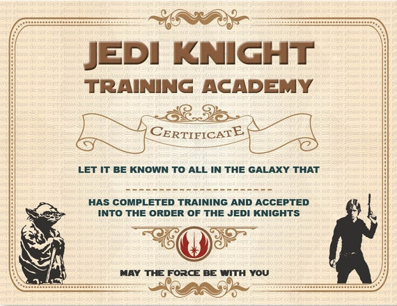 star wars jedi certificate template free - pin jedi knight training academy certificate this on pinterest