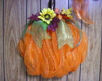 Fall Deco Mesh Pumpkin, Pumpkin Wreath, Fall Deco Mesh Wreath, Orange Pumpkin Wreath, Front Door Decor, Fall Decor, Pumpkin Decor, Harvest