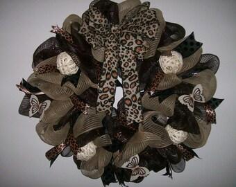 Cheetah Deco Mesh Wreath
