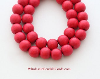 15 inch Strand 8mm WOOD BEADS - Round - RED Color - Non Toxic - Wholesale Wooden Beads - Instant Ship Usa Seller 0319C