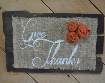 Antique Wooden Shingle- Give Thanks