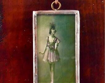 Vintage style ballerina soldered glass pendant