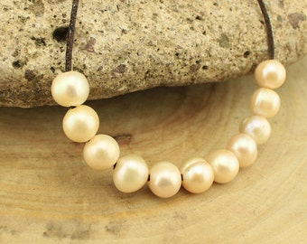 T-L077 loose pearls, 2.5mm large hole freshwater pearls, 12-13 mm big potato pearl beads,loose freshwater pearl, 10 pieces Light Gold pearls