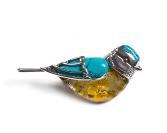 Turquoise, Yellow Amber & Silver Blue Tit Bird Brooch