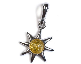 Yellow Amber & Silver Symbol of Hope Pendant with Silver Chain