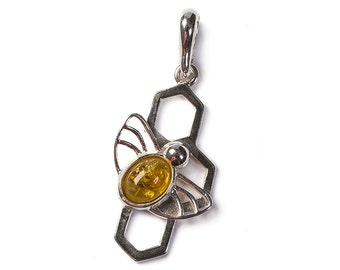 Yellow Amber & Silver Bee on Honeycomb Pendant with Silver Chain