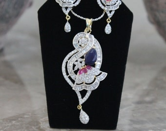 Blue/Purple-Pink Cubic Zirconia Pendant Set with Two-tone Chain - #407.2006