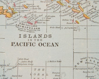 1901 Pacific Islands Antique Map