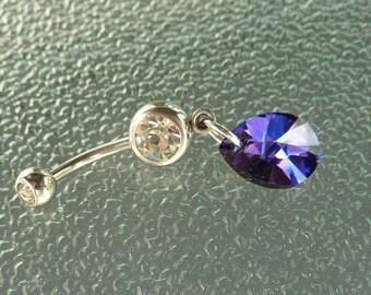 Swarovski crystal Stainless steel belly ring, stainless steel navel ring, dangle navel ring, dangle belly ring, belly ring, navel ring, BR29
