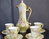 Hand Painted Porcelain Coffee Set  Porcelain Handpainted Tea Set Pot and Cups