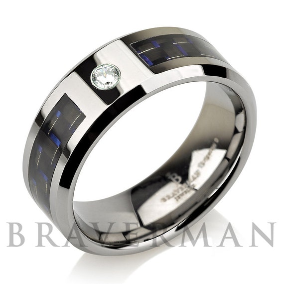 Diamond band men tungsten wedding bandman by bravermanoren for Mens wedding rings with birthstones