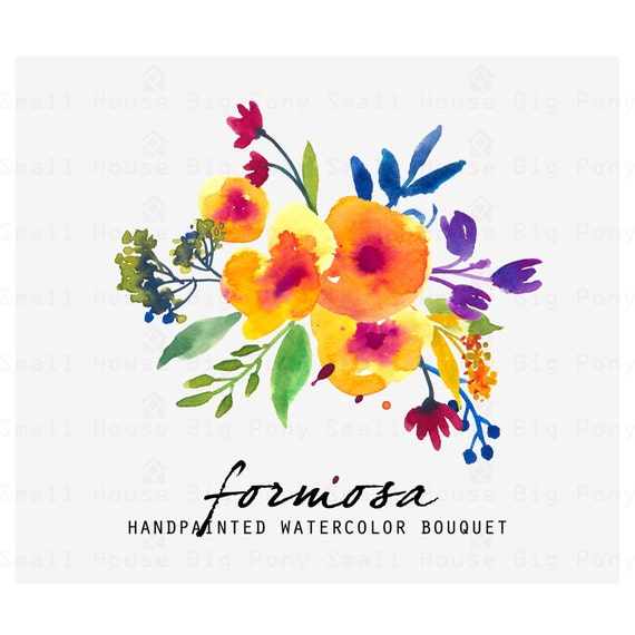 Watercolour Floral Clipart. Handmade, watercolour clipart, wedding diy elements, flowers - Formosa
