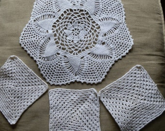 Four Vintage 1960's White Crocheted Mats / Doiley