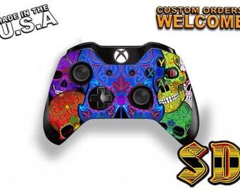 Dia de los Muertos Sugar Skull Xbox 1 Controller Wrap - Xbox 360 controller Blue Skull Gaming Controller- Decal Skin X1C-1036