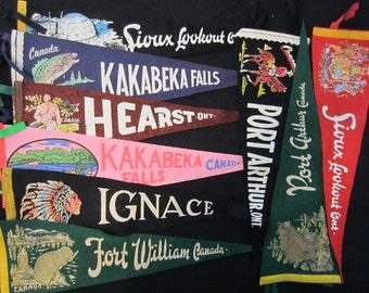 Vintage Felt Travel Pennants - Ontario - Fort William, Ignace, Hearst, Sioux Lookout, Port Arthur, Kakabeka Falls