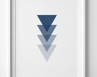 Navy print, triangle wall art, geometric poster, navy blue triangle print, blue geometric art, wall art printable, navy geometric decor