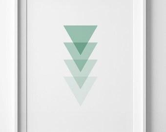 Mint print, mint green decor, mint wall art prints, green triangles print, geometric wall art, digital print, minimalist print, mint decor