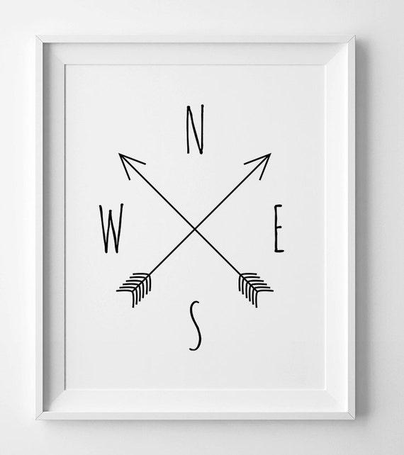 Printable art Compass cardinal directions North South