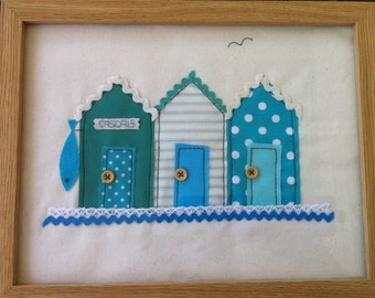 Framed fabric picture - beach huts