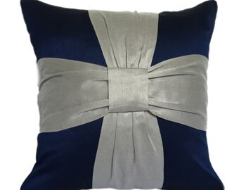Dark Blue Bow Pillow Blue Silver Bow Pillow Bow Pillows Marriage Reception Party Bow Pillows Bow Shams Shams with Bows